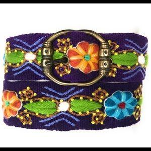 Hand Embroidered Peruvian Wool Belt.